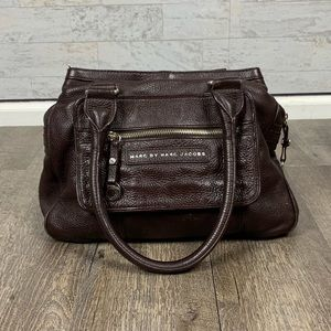 Marc Jacobs brown pebbled leather satchel